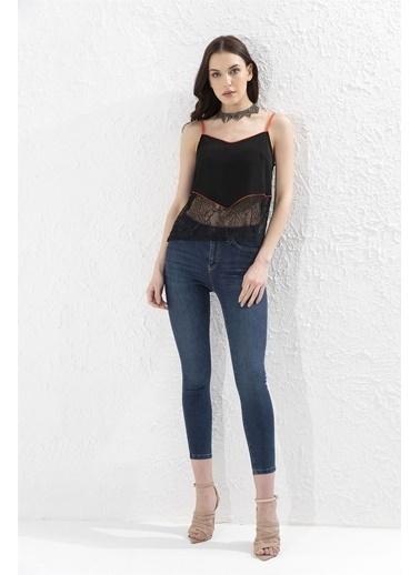 Setre Siyah-Oranj Askılı Dantel Mixli Bluz Siyah